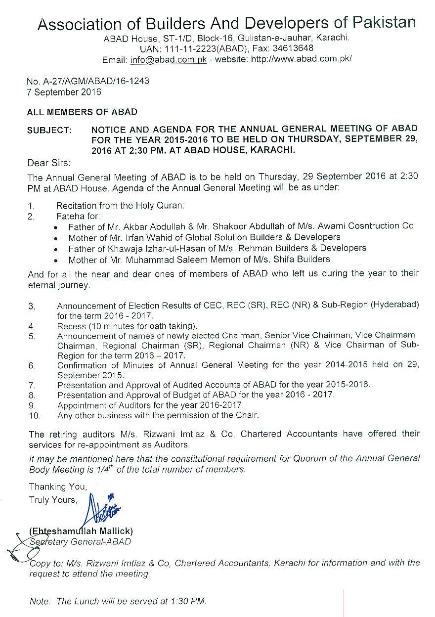 AGM Notice 2015 - 2016