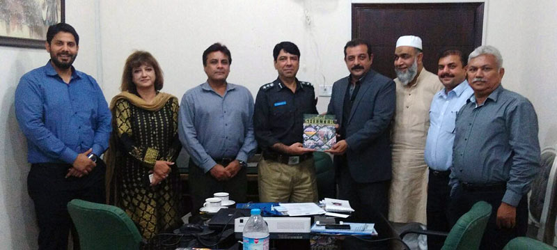 Presenting Shelter Magazine of ABAD to Mr. Mazhar Nawaz Shaikh along with Mrs. Mansoor, Co-Convener of ABAD International Expo 2016 Committee, Farigh Nadeem, Senior Member ABAD, Mr. Muhammad Ayoob, Convener New Membership Sub-Committee, Mr. Ibrahim S. Habib, Convener - Legal Affairs Sub-Committee, Engr. Danish Bin Rauf, Convener Seminar Sub-Committee, and Mr. Azeem Durrani, Admin. Officer - ABAD